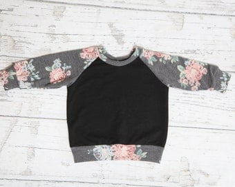 Black and Gray Floral Sweatshirt