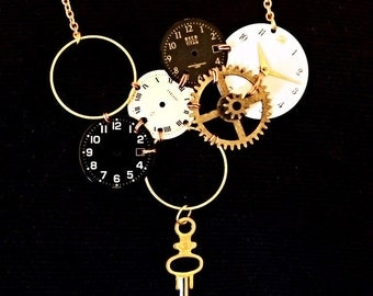 Gears and dials necklace watches clock it ""