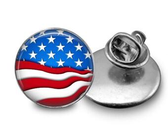American Flag Glass Tie Tack 16mm Tie Pin Lapel pin
