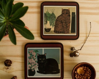 Vintage coasters for cat-lovers (set of 2)