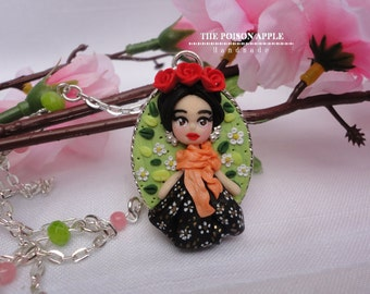 Frida Kahlo necklace / Polymer clay necklace / Cameo necklace