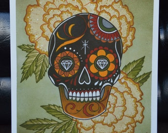 Sugar Skull Watercolor Print