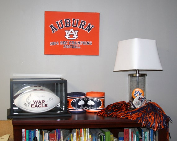 Auburn Man Cave Decor : Auburn university tigers canvas wall art from upcycled