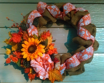 Fall Burlap and Straw Wreath