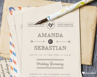 Unbreakable Love Wedding Invitation - Modern Typography, quill,  modern, poster, rustic, typography, wedding, invitation, template