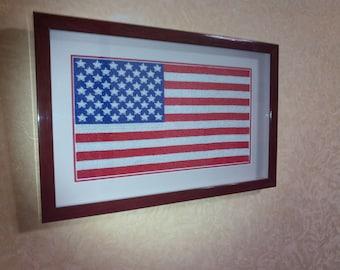 Beads Embroidery Handmade US Flag