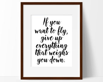 If You Want to Fly, Poster Print, Positive Quote, Word Art, Dorm decor, Black and White Print, Typography Art, Inspirational Wall Art Print