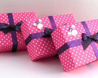 Gift Boxes, Set of 3, Minnie Mouse Inspired, Pink Polka-Dot with Purple Glitter Bow Embellishment