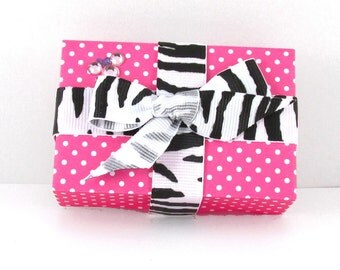 Gift Box, Single, Minnie Mouse Inspired, Pink Polka-Dot with Zebra Print Bow Embellishment