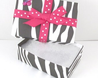 Gift Box, Single, Minnie Mouse Inspired, Zebra Print with Pink Polka Dot Bow Embellishment