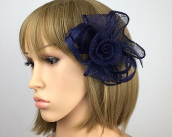 Dark Navy blue fascinator on clip navy hair grip hair accessory hair pin brooch corsage for for wedding mother of the bride, races ascot