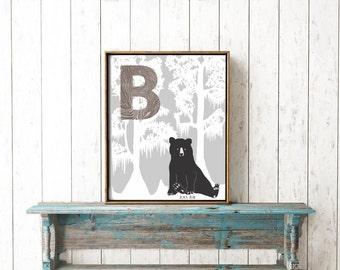 Louisiana alphabet, Letter B is for bear, Childrens initial print, Nursery wall art, ABC woodland print, Louisiana black bear