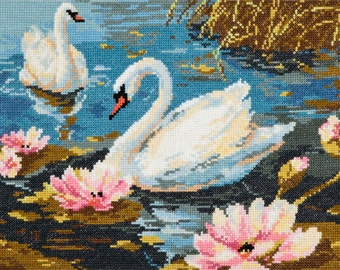 Cross Stitch Kit Swan couple