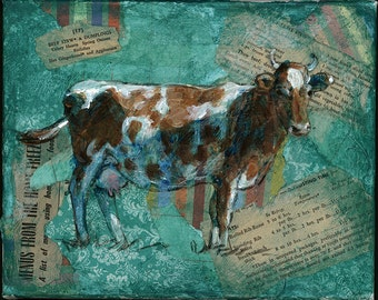 Cow on Teal