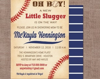 Baseball Baby Shower Invitation, Oh Boy Baseball