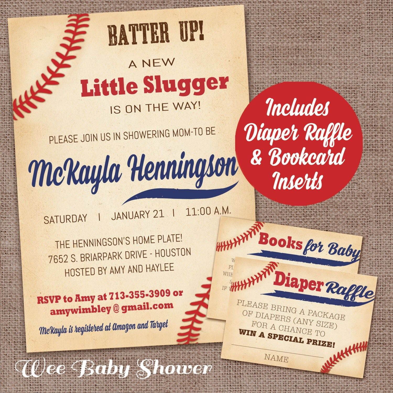 Baseball Baby Shower Invitation With Diaper Raffle Card And