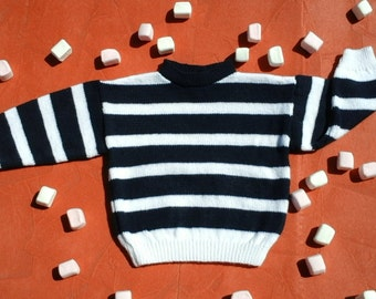 Sweater with white and blue stripes (2 years)