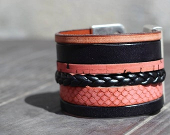 Pink and black cuff leather bracelet