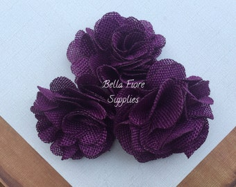 Plum Dark Purple Burlap Flowers, 3 inches, Burlap Flowers, Wedding Supply, Burlap Rose
