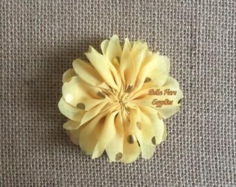 Yellow Gold Polka Dot Ballerina Chiffon Flowers, 3 inch, Chiffon Flowers, Wholesale, DIY, Chiffon Headband