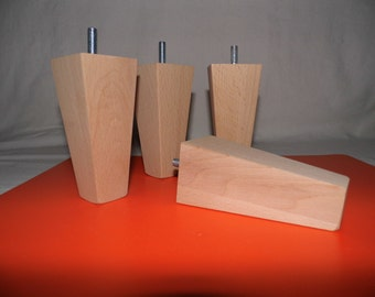 NEW 4 x sanded wooden furniture feet/ legs for sofa, chairs, stool etc...