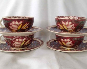 Vintage Vernon Kilns Cups and Saucers (Four Sets) - Lei Lani Design by Don Blanding -  Made in USA - 1938 to 1942
