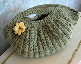Olive Green Crochet Clutch Purse with Yellow Flower