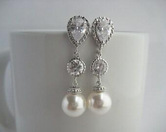 White Pearl and Crystal Bridal Drop Earrings Wedding Cubic Zirconia and Pearls Rhodium Earrings Swarovski Pearl Jewelry