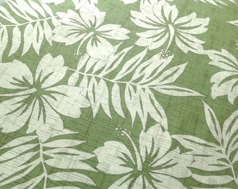 Hawaiian Fabric Green and White Floral Print, Tropical Island Plant Life on Olive Green background, Hawaii Aloha Shirt Material, 100% cotton