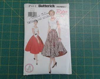 Fast And Easy Retro Butterick P411 Top Flared Skirt Reprint Of 1952 Pattern