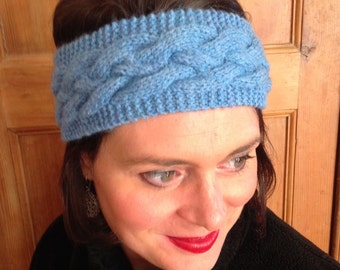Blue wool headband
