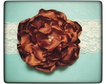 Brown Satin Headband, Fabric Flower Headband, Lace Band, Handmade, Photography Props