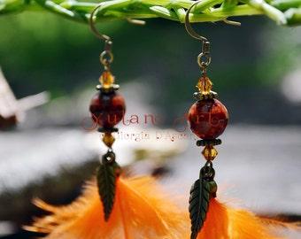 Orange feather earrings swarovski gemstone jewelry and brass