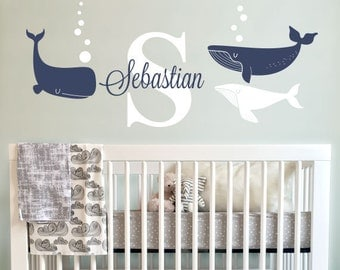 Whales and Name Decal, Custom Name Decal Nursery or Kids room - Personalized Wall Decal and Wall decor