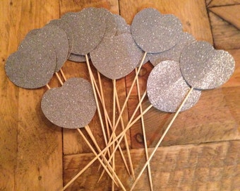 12 Silver, Sparkly Hearts on Sticks