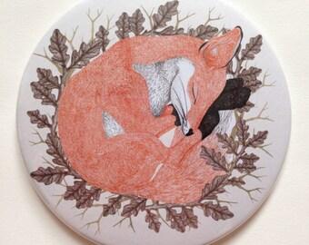 Sleeping Fox Compact Mirror