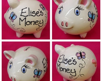 Personalised Butterfly Piggy Banks