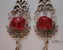 Handmade Earrings Elephant Totem Animal Coral Long Witchy Fashion Witch Magick Bohemian New Age Hippie