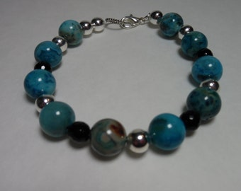 8'' Blue Crazy Lace Agate Bracelet with SP Beads, & Faceted Onyx with SP Lobster Claw Clasp