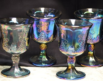 Indiana Glass Co. Blue Carnival Iridescent Footed Tumblers Set of 4 - Vintage  Item #2642