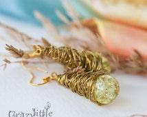 Bijouterie Dangle Earrings Glass Beads Wire Jewelry Handmade Yellow Bridesmaid gift Wire Wrapped Jewelry Yellow Earrings Gift for Women