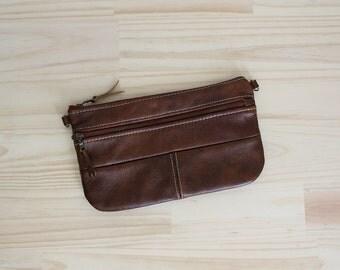 Large leather clutch. Zipper clutch. Crossbody. Bridesmaid gift.