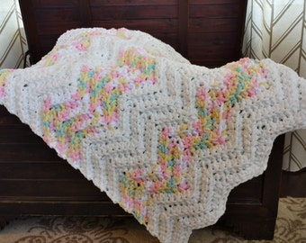 White with Pastels Crochet Baby Blanket