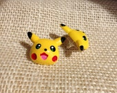 pikachu silver post earrings