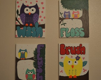 Bathroom Owl Art