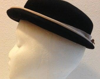 1940's Draper Emporium Hat - 1940's Vintage Ladies Hats - Womens Hats 1940's - Antique Black Hat