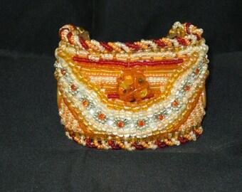 Handbeaded wide Orange Cuff Bracelet