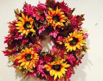 Fall Wreath Pink/Yellow