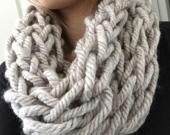 Handmade Arm Knit Chunky Cowl Scarf  in Oatmeal Color