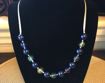 Cobalt and Irridescent Glass Beaded Necklace
